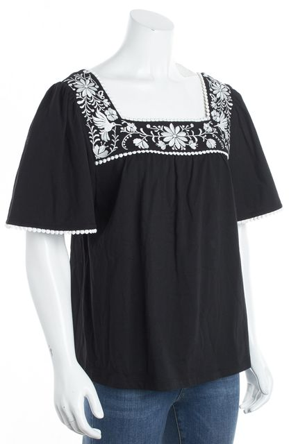 KATE SPADE Black/ White Embroidered Short Sleeve Blouse