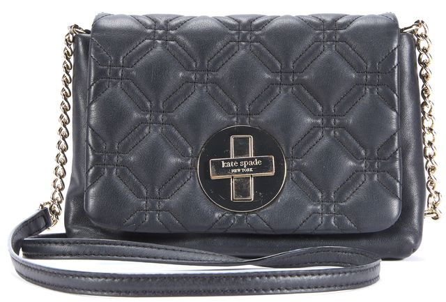 KATE SPADE Black Gold Hardware Leather Crossbody
