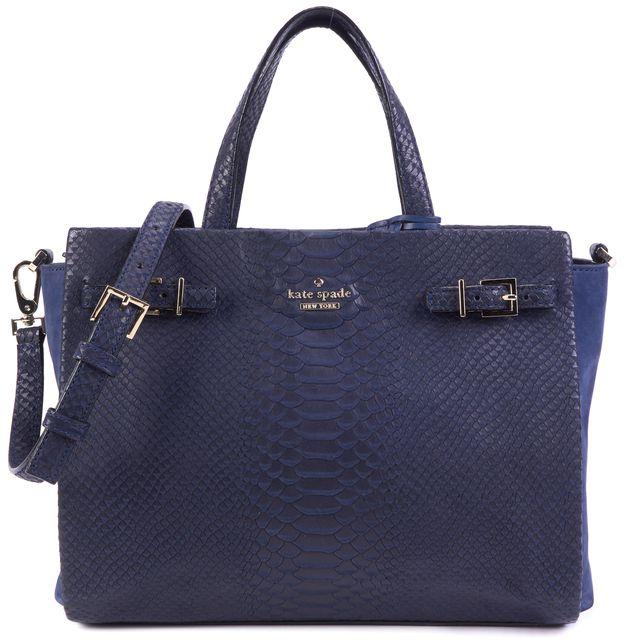 KATE SPADE Navy Blue Reptile Embossed Leather Suede Panels Satchel Bag
