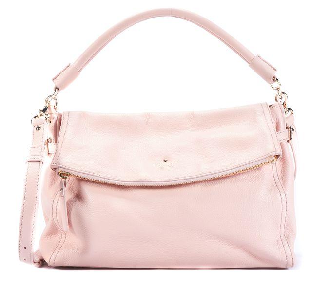 KATE SPADE Pink Pebbled Leather Foldover Satchel Shoulder Bag