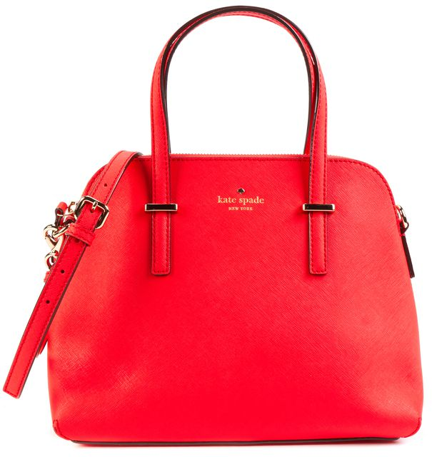 KATE SPADE Watermelon Pink Saffiano Leather Cedar Street Maise Satchel Bag