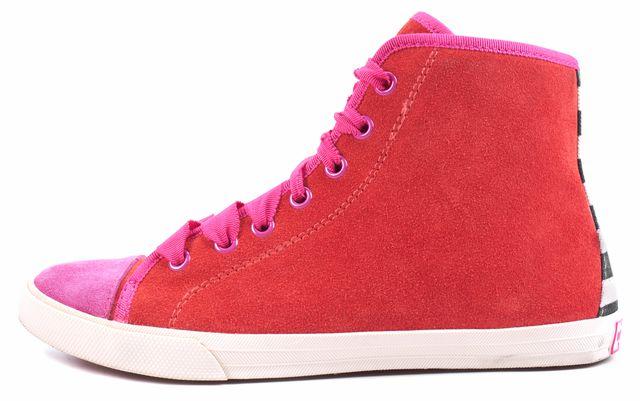 KATE SPADE Orange Pink Suede Lorna Hi Top Sneakers