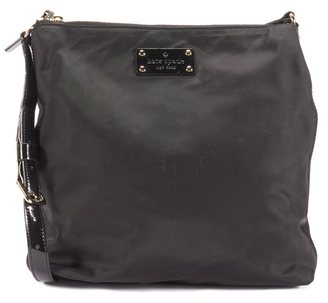 KATE SPADE Black Gold Tone Hardware patent Leather Strap Nylon Shoulder Bag