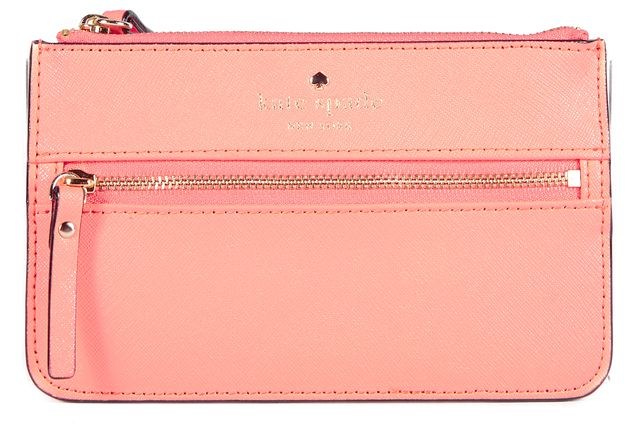 KATE SPADE Peach Pink Leather Wristlet Wallet