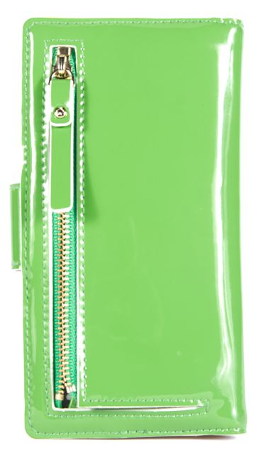 KATE SPADE Shamrock Green Patent Leather Gold-Tone Hardware Wallet