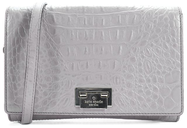 KATE SPADE Gray Textured Leather Crossbody Satchel
