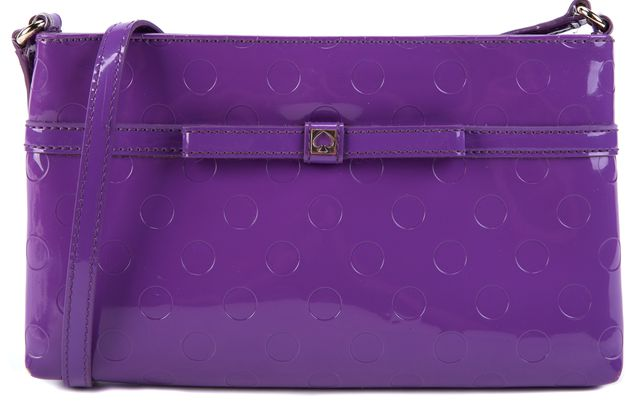KATE SPADE Purple Embossed Polka Dot Patent Leather Crossbody