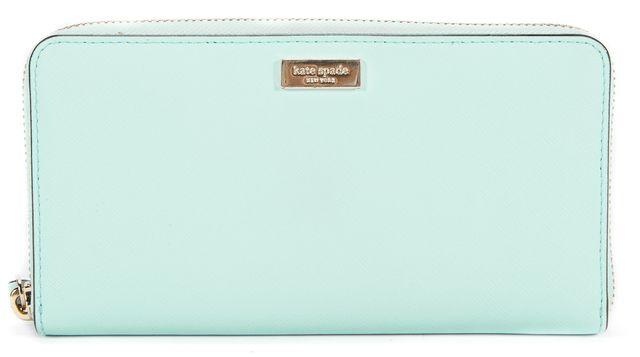 KATE SPADE Mint Green Leather Continental Wallet