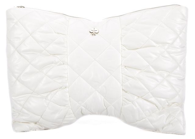 KATE SPADE White Bow Shaped Quilted Silk Clutch