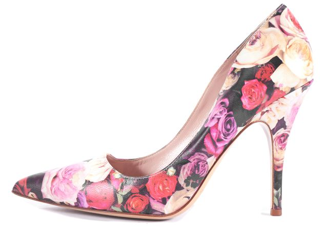 KATE SPADE Pink Floral Leather Pointed Toe Pump Heels