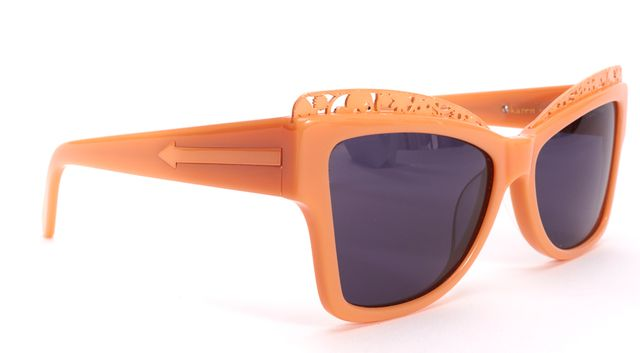 KAREN WALKER Peach Cat Eye Floral Detail Filigree Atomic Sunglasses