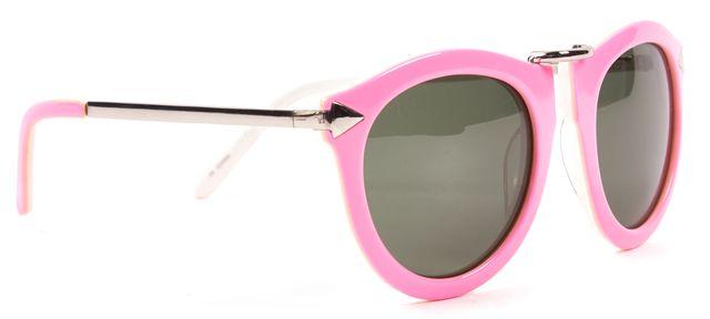 KAREN WALKER Pink Green Acetate Frame Cat Eye Sunglasses