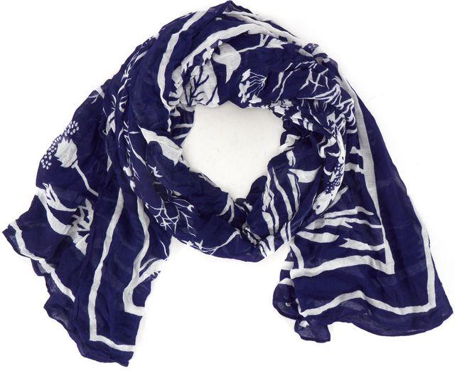 KAREN WALKER Blue White Abstract Printed Long Scarf