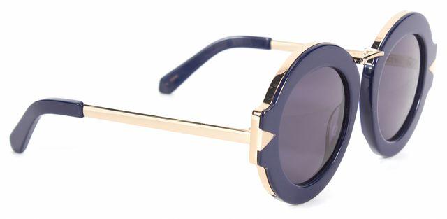 KAREN WALKER Navy Blue Goldtone Maze Oversized Round Sunglasses