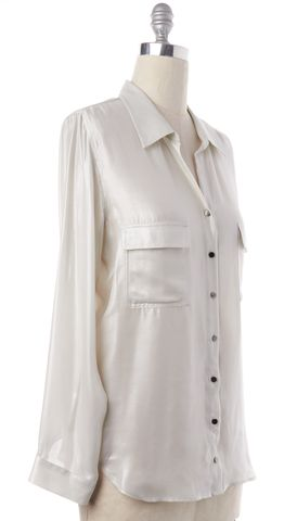 L'AGENCE Metallic Ivory Silk Button Down Shirt Top
