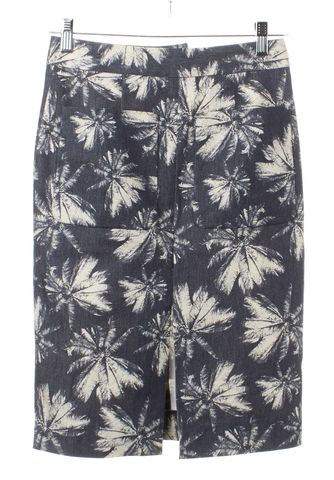 L'AGENCE Blue Beige Abstract Pencil Skirt