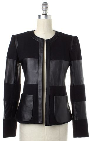 L'AGENCE Black Wool Leather Jacket Size 0