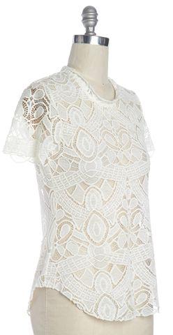 L'AGENCE Ivory Sheer Crochet Basic Tee Top