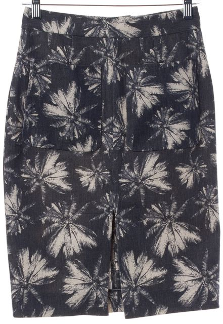 L'AGENCE Gray Ivory Palm Floral Straight Skirt