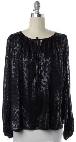 L'AGENCE Black Detailed Silk Long sleeve Blouse