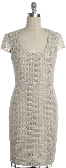 L'AGENCE Beige White Lace Sheath Dress
