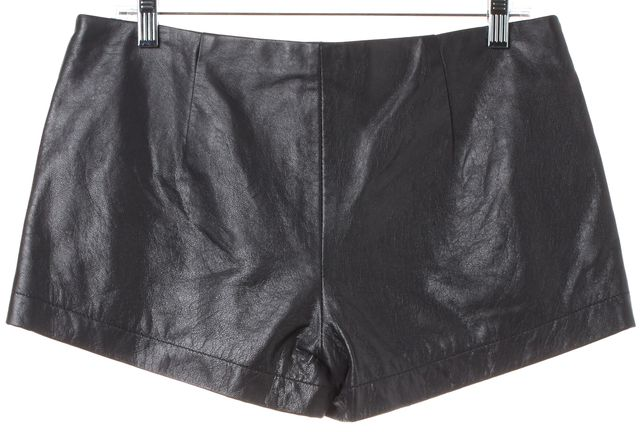 L'AGENCE Gray Leather Zip Front Short Shorts