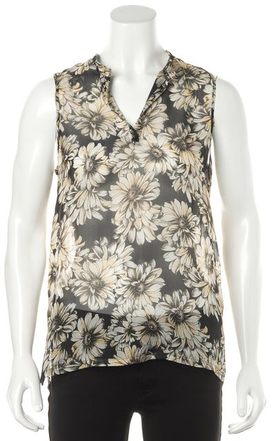 L'AGENCE Black White Yellow Floral Printed Sheer Silk Sleeveless Blouse