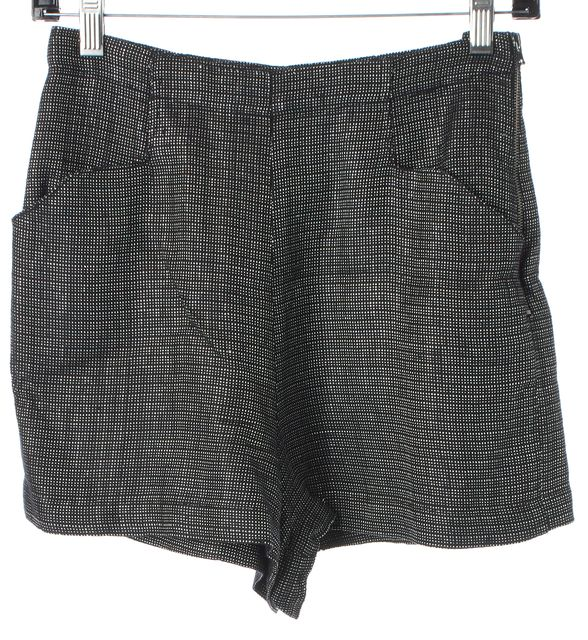 L'AGENCE Black Metallic Silver Woven Mini High Waist Shorts