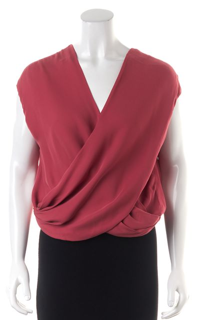 L'AGENCE Pink Silk Wrap Blouse