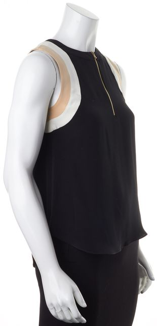 L'AGENCE Black Beige White Color Block Silk Sleeveless Blouse Top
