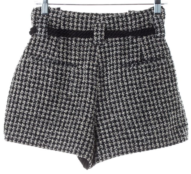 L'AGENCE Black White Tweed Paper Bag Waist Tassel Rope Tie Dress Shorts