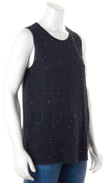 L'AGENCE Navy Blue Jewel Embellished Silk Sleeveless Blouse Top