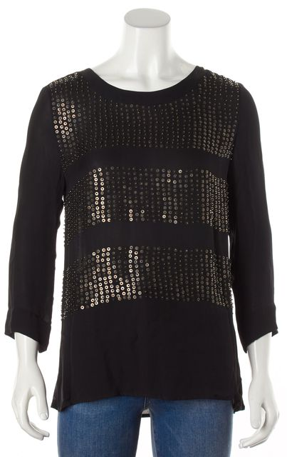 L'AGENCE Black Gold Bead Embellished Silk Blouse