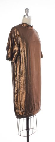 LANVIN NEW NWT $2150 Gold Silk Shift Dress Size S