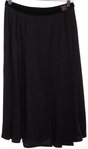 LANVIN Charcoal Gray Black Velvet Trim Wool Pleated Skirt