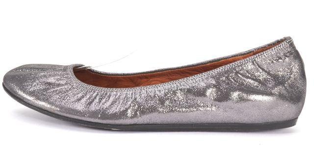 LANVIN Silver Metallic Leather Round-toe Flats Size 7.5