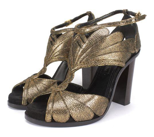 LANVIN Gold Textured Leather Petal Detail Block Heel Sandals Size 37.5