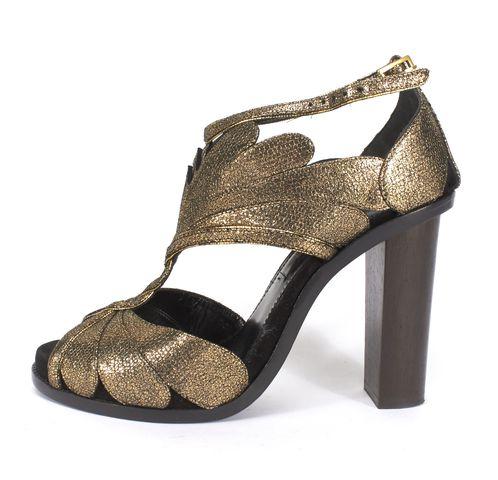 LANVIN Gold Textured Leather Petal Detail Block Heel Sandals
