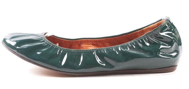 LANVIN Forest Green Patent Leather Rounded Toe Elastic Ballet Flats Size 38