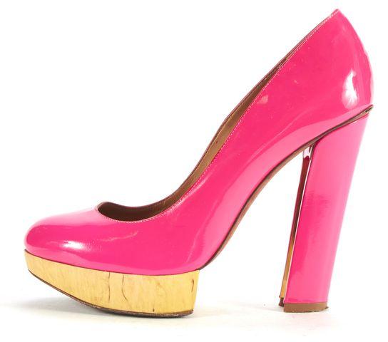 LANVIN Hot Pink Patent Leather Wooden Platform Pumps
