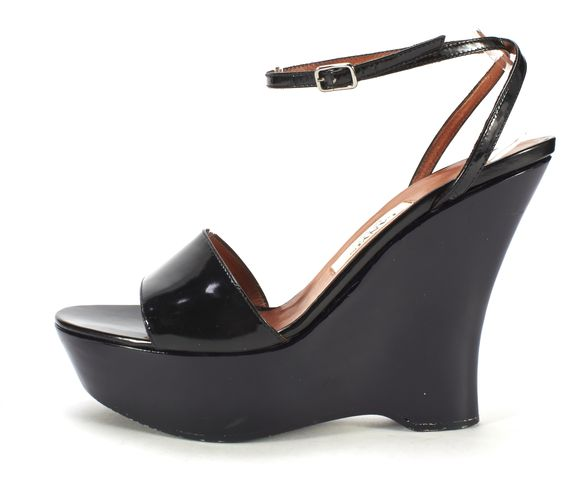 LANVIN Black Patent Leather Ankle Strap Wedge Heeled Sandals