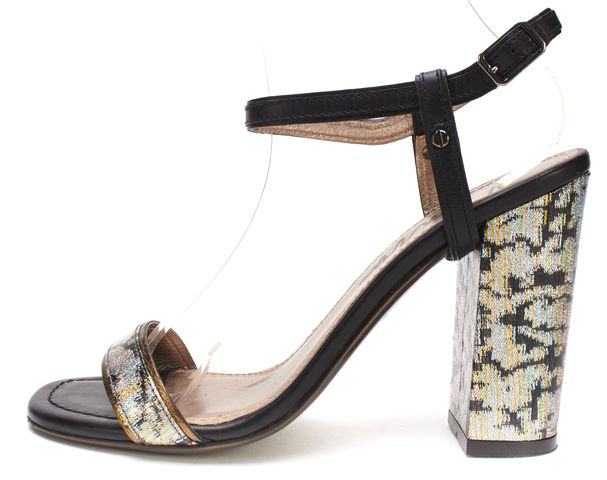 LANVIN Black Multi Fabric Leather Block Heel Sandals