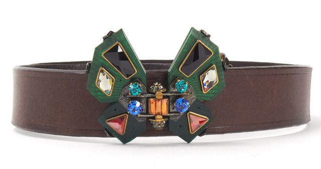 LANVIN Brown Leather Butterfly Jewel Embellished Belt Size S