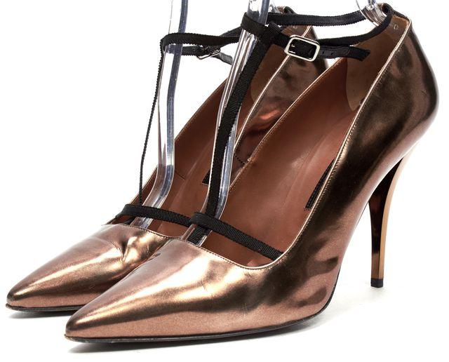 LANVIN Copper Gold Metallic Leather T-Strap Pump Heels