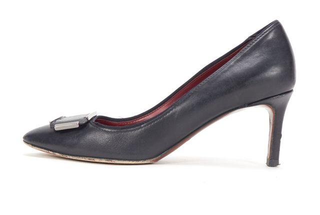 LANVIN Black Leather Buckle Gold Buckle Heels