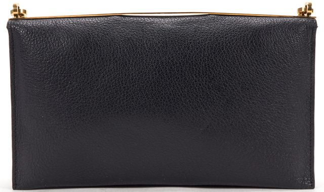 LANVIN Black Pebbled Leather Gold Chain Crossbody Clutch Bag