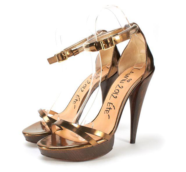 LANVIN Gold Leather Ankle Strap Wood Platform Heeled Sandals