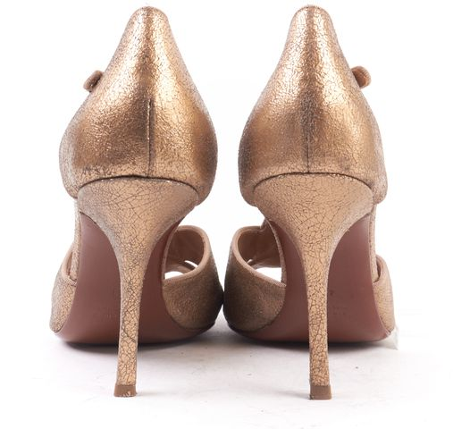 LANVIN Gold Cracked Leather Open Toe T-Strap Heels