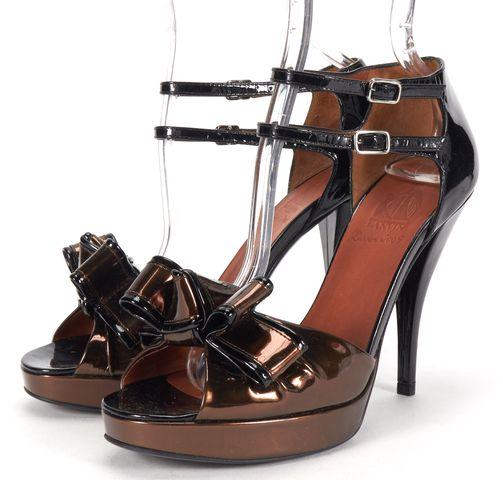 LANVIN Bronze Black Contrast Patent Leather Sandal