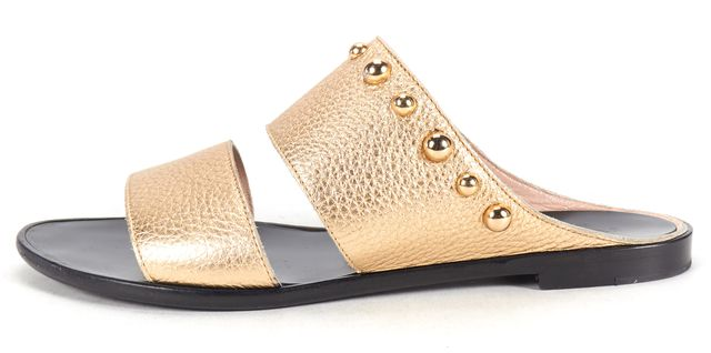 LANVIN Gold Leather Stud Embellished Slide On Sandals